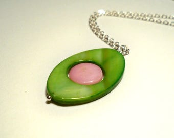 Mother of Pearl Layered Silver Summertime Necklace in Green and Pink