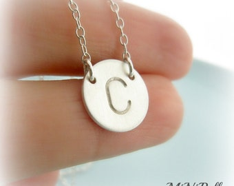 """Initial Necklace. Personalized Letter Necklace. Monogram Necklace. Sterling Silver Initial Necklace 1/2"""" Charm"""