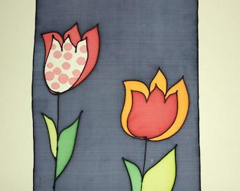 Silk Painting - Original painting - Painting on silk - Handpainting silk - Silk painting flowers - Decoration silk - 34 x 25 cm