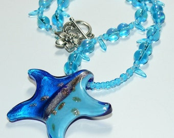 Starry, Starry Bright -Blue Beaded Necklace with Star Pendant