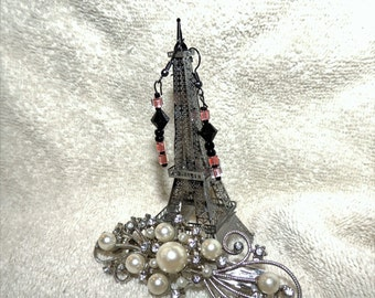 Earrings -- Black and Pink Beads