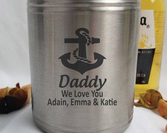 Personalised Dad Silver Can Cooler