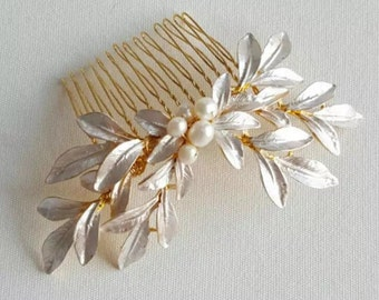Gold bridal hair comb - Gold hairpiece - Bridal hairpiece - Gold wedding hair accessories - Wedding hair accessories