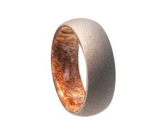 Titanium Ring With A Sindora Wooden Sleeve, Wood Wedding Band With Sandblasted Titanium Finish