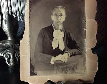 Antique Victorian Photograph - Tintype Photo Enlarged and Transfered to Paper - Late 1800s - 20th Century