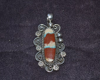 Handmade Sterling Silver and Boulder Turquoise Pendant