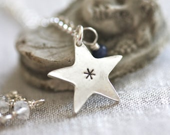 Star Necklace in sterling silver...sterling silver and tiny sapphire