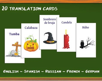 Halloween in Russian, French, English, German: Translation cards, Flash cards, Word game, children's game, learn a language, witch, ghost