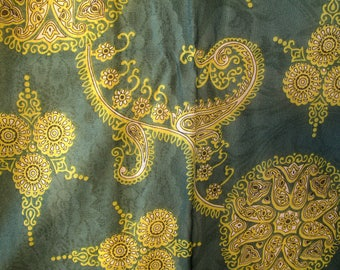 Vintage Green Yellow Scroll Chiffon Square Scarf 28 x 29 Retro Free US Shipping
