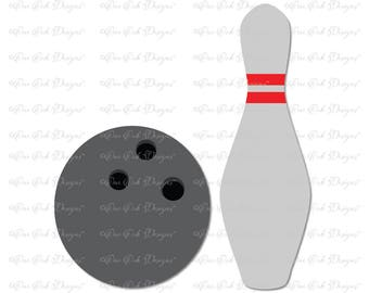 Bowling Ball Bowling Pin SVG Cut File dxf / pdf / png/ jpg for Cricut Explore, Cameo, Scan n Cut and other cutting machines