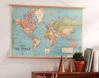 Vintage world map chart poster and hanger kit