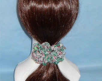 H06# Christmas Scrunchie, Christmas colors, holiday scrunchie, silver sparkle #1