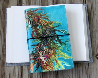 Inside Journal with original art cover for travel vacation life plan journaling by tremundo
