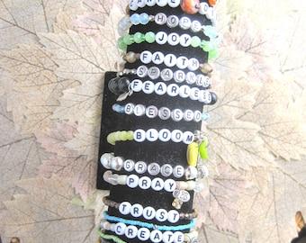 WORD stretch stack bracelets - bead stretch bracelets with charms, stack bracelets, name bracelet