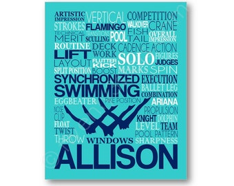 Synchronized Swimming Typography Poster, Gift for Synchro swimmer, Swim Team Gift, Swim Coach Gift, Synchronized Swim Canvas, Synchro Gift