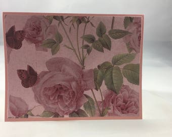 Pink Roses Blank Note Card  - Blank Inside