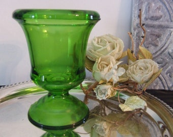 Beautiful Vintage Green Glass Footed Vase