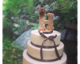 Wooden Letter Wedding Cake Topper Rustic Cake Topper Fall Wedding Cake Topper Wedding Cake Topper