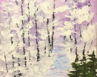 Impressionism Acrylic Painting Original Wall Art Modern Art Winter Landscape