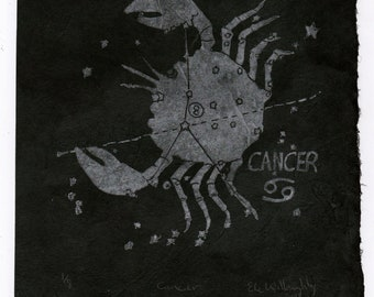 Cancer Constellation Linocut in Silver on Black, Constellations of the Zodiac Collection, Cancer the Crab Star Map