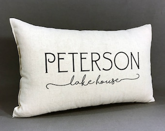 Personalized Family Lake House Pillow, Lake House Decor, Personalized With Family Name, Housewarming Gift
