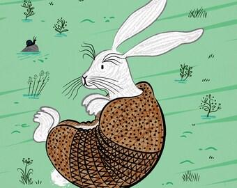 The Rabbidillo - Rabbit / Armadillo - children's art poster print by Oliver Lake - iOTA iLLUSTRATiON