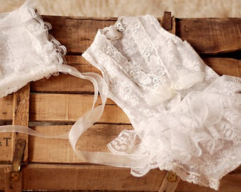 baby romper with bonnet, newborn lace, lace romper, new romper, photography prop lace, newborn girl,  ready to ship.