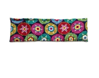 Microwaveable Flax Seed Heating Pad with Bright Bold Flowers on Navy Background