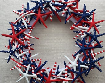 Starfish Wreath, Handmade Starfish Wreath, Beach Wedding Decor, Patriotic Starfish Wreath