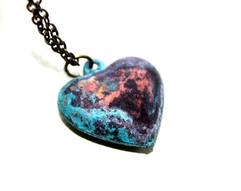 Patina Heart Necklace, Rustic Jewelry,
