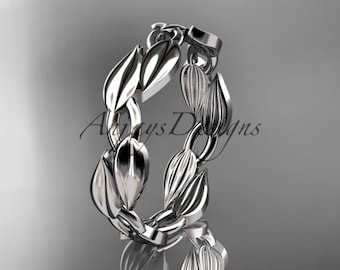 Leaves and vine 14k white gold  wedding band, engagement ring ADLR58G