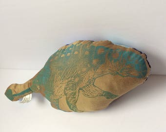 Turquoise and Gold Euoplocephalus Hard-headed Vegetarian Dinosaur Stuffie Backed with Crystal Gem Print Fabric