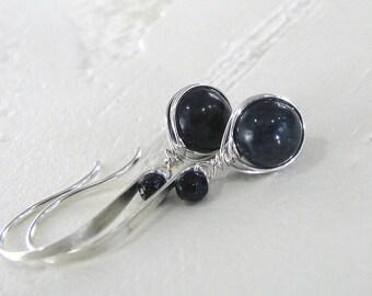 Sapphire Earrings, Blue Sapphire Earrings, Sterling Silver, Natural Sapphire Gemstone, Blue Earrings,  Birthstone Earrings - Midnight Blue