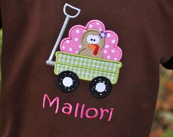 Personalized Cute Turkey Wagon Kids Shirt