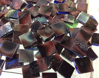 Odd Size MOTTLED CRANBERRY & BLUE/ Green Stained Glass Mosaic Tile 03