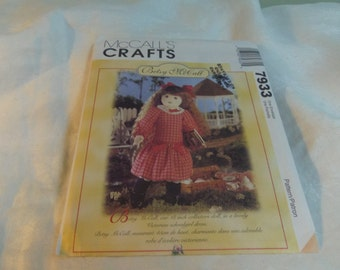 """Soft Doll with Doll Clothes, Betsy McCall  18"""" tall Uncut Pattern, McCall's Crafts  7933 / 644"""
