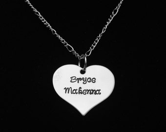 Stainless Steel Heart Necklace - Personalized