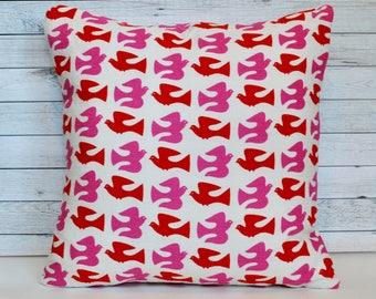 Pink and red pillow. Bird pillow. Nursery decor. 20x20 pillow. Bird cushion. Red and Pink pillow case. Girl decor. Modern pillow. HGTV style