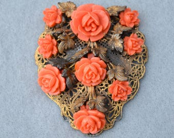 Coral Celluloid Flowers Filigree Dress Clip Mid Century Vintage