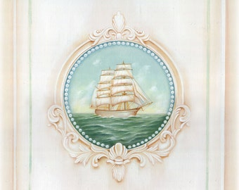 Dreamy Nautical Ship Print 1