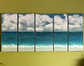 Original Painting Sander 5 Piece Seascape - Expanding Horizons - Beach House Art Wall Decor Painting by CastawaysHall  - READY TO SHIP