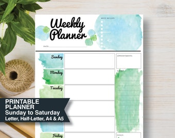 WEEKLY Green Printable Planner | Sunday Start | Includes: A4, A5, Letter & Half Letter | Inserts Planner A5. Weekly Agenda 2018 | #665