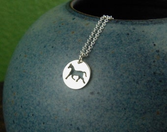 Horse charm necklace in sterling silver, equestrian, western jewelry, horse pendant, animal charm