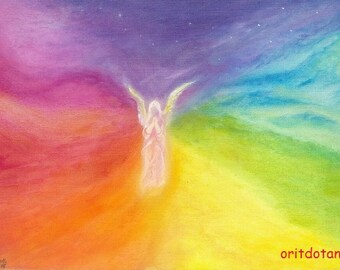 THE ANGEL, large print of oil painting art print, blessing card, post card of my original oil painting, Waldorf education arts