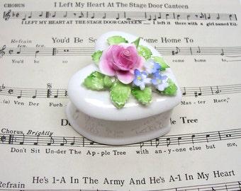 Royal Doulton Heart Shaped Rose Trinket Box Secrets Box Ring Box Gift Box Jewelry Box Pill Box
