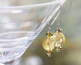 Statement Jewelry Citrine Earrings Peridot Gemstone Earrings Birthstone Earrings Yellow and Olive Green Wire Wrapped Sterling Silver
