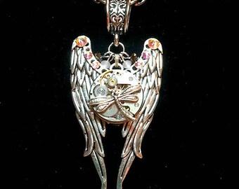 Steampunk Angel Wing Necklace, Watch Movement, Watch Gears, Dragonfly, Steampunk Jewelry