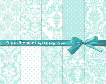 Aqua Damask - Instant Download, Digital damask paper, damask patterns, damask background, wedding invitations, scrapbook paper, turquoise