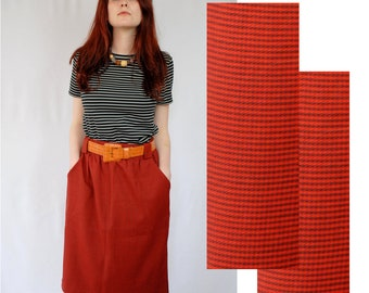 Tomato red with black houndstooth knee length pencil skirt with wide belt loops 1990s 90s VINTAGE