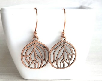 Copper Leaf Earrings - round floral filigree cut out design - light antique finish - simple boho Bohemian unique rustic red brown aged